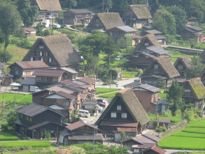 The village of Shirakawa Go from the observation point