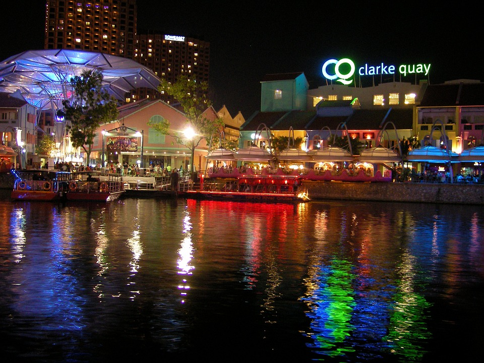 Clarke Quay in Singapore  at night